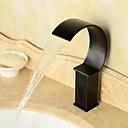 billige Oliemalerier-Moderne Vandret Montering Vandfald Sensor Magnetventil Et Hul Håndfri Et Hul Olie-gnedet Bronze, Håndvasken vandhane