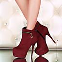 preiswerte Damen Stiefel-Damen Schuhe Kunstleder Herbst / Winter Modische Stiefel Stiefel Stöckelabsatz 10.16-15.24 cm / Booties / Stiefeletten Schwarz / Rot /