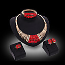cheap Clutches & Evening Bags-Jewelry Set - Cubic Zirconia Luxury, Vintage, Party Include Gold / Red For Party / Special Occasion / Anniversary / Earrings / Necklace