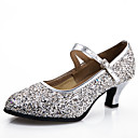 cheap Kitchen Faucets-Women's Modern Shoes Synthetic Heel Sparkling Glitter / Buckle Customized Heel Customizable Dance Shoes Silver / Blue / Gold / Indoor