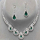 cheap Network Adapters-Women's Crystal Jewelry Set - Cubic Zirconia, Imitation Diamond Drop Party, Elegant, Bridal Include Drop Earrings Pendant Necklace Emerald / Sapphire / Light Olive For Party Special Occasion