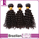 baratos Utensílios para Biscoitos-3 pacotes Cabelo Brasileiro Encaracolado / Clássico / Kinky Curly Cabelo Virgem Cabelo Humano Ondulado Tramas de cabelo humano Extensões de cabelo humano / Crespo Cacheado