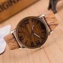 abordables Relojes de Hombre-Hombre Reloj de Moda / Reloj Madera Japonés Reloj Casual PU Banda Encanto Marrón / Gris / Dos año