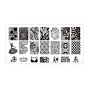 preiswerte Nail Stamping-5 pcs Nail Schmuck Stempelplatte Nagel Kunst Maniküre Pediküre Alltag Blume / Modisch / Nagelschmuck / Metal