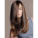 billige Syntetiske parykker uten hette-Syntetiske parykker Dame Rett Syntetisk hår Parykk Medium Lengde Lokkløs Brun