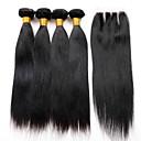 baratos Um pacote de cabelo-Cabelo Peruviano Liso Cabelo Virgem Trama do cabelo com Encerramento Tramas de cabelo humano Extensões de cabelo humano