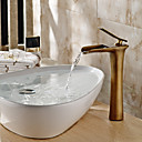 levne Koupelnové baterie-tradiční Umyvadlo na desku Vodopád Keramický ventil Single Handle jeden otvor Starožitný bronz, Koupelna Umyvadlová baterie