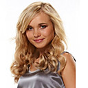 billige Syntetiske parykker-Syntetiske parykker Bølget Med lugg Syntetisk hår Side del Parykk Dame Medium Lengde Lokkløs Blond