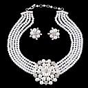preiswerte Schmuckset-Damen Schmuck-Set - Perle, Strass, versilbert Blume Luxus, Europäisch, Modisch Einschließen Blau Für Hochzeit Party / Diamantimitate / Ohrringe / Halsketten