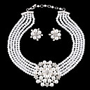 povoljno Modne ogrlice-Žene Komplet nakita Cvijet dame Luksuz Europska Moda Birthstones Elegantno Biseri Umjetno drago kamenje Glina Naušnice Jewelry Ogrlica i naušnice i tiara / Narukvica i ogrlice i naušnice / Obala Za