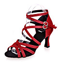 cheap Latin Shoes-Latin Shoes Glitter Sandal Flared Heel Customizable Dance Shoes Silver / Red / Blue / Performance / Leather