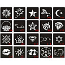 cheap Temporary Tattoos-20pcs 6X6CM Henna Tattoo Stencil & Template For Painting, Airbrush Tatoo & Temporary Tattoos