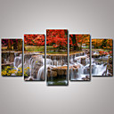 cheap Fishing Lures & Flies-Landscape Realism, Five Panels Canvas Horizontal Print Wall Decor Home Decoration