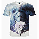 cheap Table Lamps-Men's Sports Slim T-shirt - Animal Lion, Print / Short Sleeve