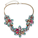 cheap Jewelry Sets-Women's Synthetic Diamond Bib Pendant Necklace - Rhinestone Flower European, Colorful, Festival / Holiday Screen Color Necklace Jewelry For Party, Special Occasion, Birthday