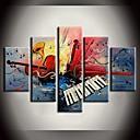 رخيصةأون رسومات زيتية-هانغ رسمت النفط الطلاء رسمت باليد - حياة هادئة الطراز الأوروبي مع إطار / خمس لوحات / امتدت قماش
