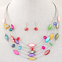 cheap Jewelry Sets-Women's Crystal Layered Jewelry Set - Resin, Shell Bohemian, Fashion, Boho Include Green / Blue / Rainbow For Party / Daily / Casual / Earrings / Necklace