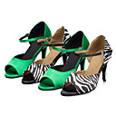 cheap Latin Shoes-Women's Latin Shoes Satin Sandal / Heel Bowknot / Buckle Customized Heel Customizable Dance Shoes Black and White / Green / Indoor / Performance / Practice / Professional