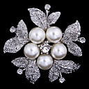 cheap Brooches-Women's Brooches - Cubic Zirconia Flower Party, Work, Casual Brooch Silver For Wedding / Party / Special Occasion