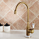 cheap Kitchen Faucets-Kitchen faucet - Single Handle One Hole Antique Brass Tall / ­High Arc Deck Mounted Antique Kitchen Taps
