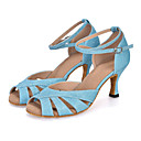 cheap Latin Shoes-Women's Latin Shoes Elastic Fabric Sandal / Heel / Sneaker Sparkling Glitter / Buckle / Hollow-out Flared Heel Customizable Dance Shoes Green / Purple / Light Blue / Performance / Leather