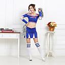 baratos Roupas Infantis de Dança-Fantasias para Cheerleader Roupa Mulheres Espetáculo Poliéster Estampa Manga Longa Alto Blusa Saia