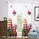 baratos Cortinas Transparentes-Anéis Dois Painéis Tratamento janela Modern, Estampado Sala de Estar Poliéster Material Sheer Curtains Shades Decoração para casa