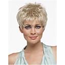 preiswerte Werkzeugsets-Synthetische Perücken Glatt Blond Pixie-Schnitt / Mit Pony Synthetische Haare Mit Pony Blond Perücke Damen Kurz Kappenlos Blondine