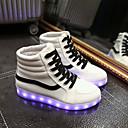 baratos Tênis Feminino-Homens / Mulheres Sapatos Courino Primavera / Outono Tênis com LED Sem Salto Cadarço Branco / Preto