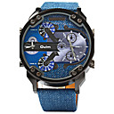 cheap Military Watches-Oulm Men's Quartz Military Watch Sport Watch Dual Time Zones Leather Band Luxury Cool Blue
