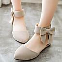 baratos Sapatilhas Femininas-Mulheres Sapatos Veludo Primavera / Verão MaryJane Sem Salto Laço / Ziper Bege / Verde / Rosa claro