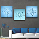 baratos Impressões-Floral/Botânico Clássico, 3 Painéis Tela de pintura Quadrada Estampado Decoração de Parede Decoração para casa