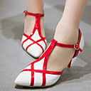 baratos Sapatos de Salto-Mulheres Sapatos Couro Envernizado / Courino Primavera / Verão Tira em T Salto Agulha Combinação Vermelho / Rosa claro / Amêndoa / Social