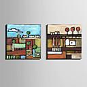 preiswerte Kunstdrucke-Hang-Ölgemälde Handgemalte - Landschaft Europäischer Stil Segeltuch / Gerollte Leinwand