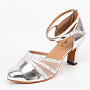 cheap Modern Shoes-Women's Modern Shoes Leatherette Sandal / Heel Buckle Customized Heel Customizable Dance Shoes Silver / Indoor