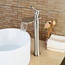halpa Korusetit-Kylpyhuone Sink hana - Vesiputous Harjattu nikkeli Integroitu Yksi kahva yksi reikä