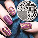 billige Neglestempling-1 pcs Stempling plade Skabelon Moderigtigt Design Negle kunst Manicure Pedicure Stilfuld / Mode Daglig / Stempling Plate / Metal