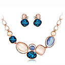 baratos Colares-Mulheres Opala / Opal Synthetic Conjunto de jóias - Strass, Prata Chapeada, Opala Incluir Colar / Brincos Azul Real Para Festa / Diário / Colares