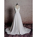 cheap Party Gloves-A-Line V Neck Chapel Train Chiffon / Lace Made-To-Measure Wedding Dresses with Bowknot / Appliques by