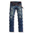 billige Hengelamper-Herre Bomull Rett / Jeans / Chinos Bukser Ensfarget / Arbeid / Helg
