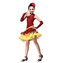billige Dansetøj til børn-Latin Dans Dragter Ydeevne Bomuld / Polyester Leopard / Krøllede Folder Kjole / Handsker / Halsklæder