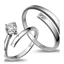 cheap Rings-2pcs Sterling Silver Ring Sample CZ Couple Rings Adjustable Fashion Jewelry for Couple Wedding Engagement Ring
