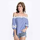 저렴한 여성 상의-여성용 줄무늬 티셔츠 나일론 레이스