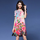 cheap Natural Color Hair Weaves-Women's Chinoiserie Loose Dress Print