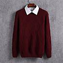 billige Mode Øreringe-Herre Langærmet Pullover - Ensfarvet