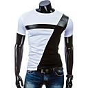 preiswerte Tanz Sneaker-Herrn Patchwork Sport Baumwolle T-shirt Schlank Schwarz & Weiß