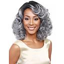 זול פיאות סינטטיות ללא כיסוי-פאות סינתטיות בגדי ריקוד נשים מתולתל אפור תספורת אסימטרית שיער סינטטי שיער טבעי אפור פאה חצי אורך ללא מכסה