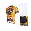 baratos Bicicletas-ILPALADINO Homens Manga Curta Camisa com Bermuda Bretelle - Amarelo Moto Calções Bibes / Camisa / Roupas Para Esporte / Conjuntos de Roupas, Respirável, Tapete 3D, Secagem Rápida, Resistente Raios