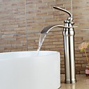 cheap Window Film & Stickers-Contemporary Centerset Waterfall Widespread Ceramic Valve Single Handle One Hole Nickel Brushed, Bathroom Sink Faucet
