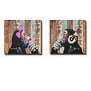 זול מדבקות קיר-ציור שמן צבוע-Hang מצויר ביד - חיות מודרני בַּד